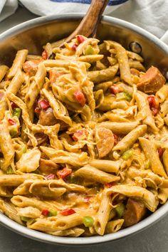 Skinny Cajun Chicken Pasta | Skinny Ms. Creamy Cajun Pasta, Cajun Chicken Pasta, Chicken Spices, Rotisserie Chicken, Penne Pasta, Pasta Bake, Pasta Salad, Easy Chicken Dinner Recipes, Chicken Pasta Recipes