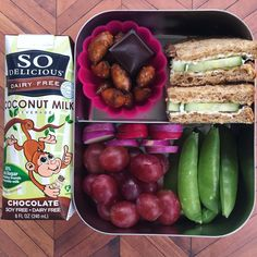 #schoollunch for G tomorrow is a cucumber and #kitehill cream cheese on sprouted grain sammie, grapes, snap peas, Easter egg radishes (his choice in the produce section, hope he likes the taste as much as the color) pretzel nuggets, a square of love chocolate and a #sodelicious chocolate coconut milk #vegan #veganmom #plantbased #plantstrong #plantpowered #veganfood #kidsfood #lunch #lunchbots #yum #momlife #healthy #healthykids #healthychoices @so_delicious #preschool