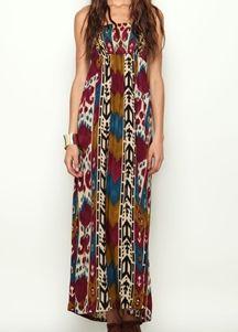 Strapless Tribal Print Maxi Dress