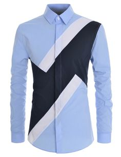 (DMLS16) TheLees Men Slim Fit Colorblock Comfortable Stretchy Longsleeve Shirts