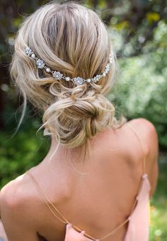 Boho Bridal Hair Chain, Pearl Wedding Hair Wrap, Grecian Headpiece, Draped Hair Comb, Floral Wedding Hair Comb, Hair Wreath - 'HELENA'