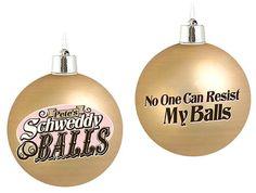 Saturday Night Live Schweddy Balls Christmas Ornaments  http://l7world.com/2013/10/saturday-night-live-schweddy-balls-christmas-ornaments.html  #TV #funny #sexy #weird #WTF #kitsch #mollyshannon #AnaGasteyer #AlecBaldwin #christmas #ornaments #snl #saturdaynightlive #pun #retro
