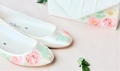 David Austin rose, and patience, miss piggy roses handpainted flat satin wedding shoes. Designed and made by Elizabeth Rose London Satin Wedding Shoes, David Austin Roses, Patience, Wedding Accessories, Hand Painted, Flats, London, Bride, Design