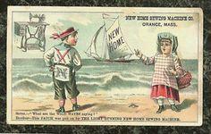 Boy Girl at Beach New Home Sewing Machine Trade Card Orange MA | eBay