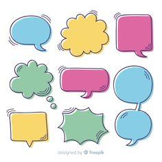 Comic Template, Banner Template, Cartoon Speech Bubble, Hello Quotes, School Badges, Cloud Shapes, Sale Banner, Paper Design, Blue Backgrounds