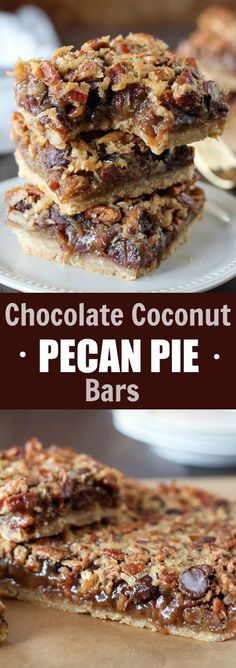Chocolate Coconut Pecan Pie Bars - A brown sugar shortbread crust topped with a gooey maple filling that's loaded with pecans, shredded coconut and chocolate chips. Flavor and texture in every sweet and sticky bite! (desserts with apples chocolate chips) Pecan Desserts, Pecan Recipes, Sweet Recipes, Cookie Recipes, Delicious Desserts, Dessert Recipes, Yummy Food, Desserts With Pecans, Pie Recipes