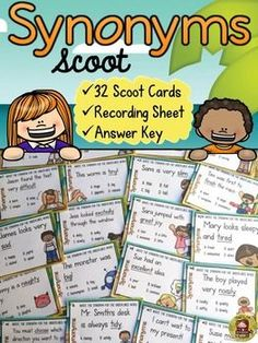 Use these 32 Synonym Cards to play a fun game of Scoot and build essential vocabulary skills.  https://www.teacherspayteachers.com/Product/SYNONYMS-SYNONYMS-SCOOT-2214958