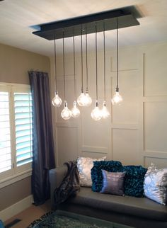 Custom Industrial Chandelier with Modern Glass by PolitelyBlunt, $875.00