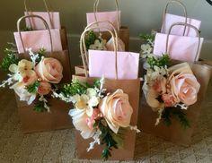 Baby Shower Tea Party 6 Piece Garden party gift bags | Pale Pink gift bags, Gift Bags for tea party, wedding gift bags in pale pink, bridal shower gift bags in pale pink, pale pink shabby chic gift bags
