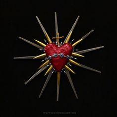 Sacred Heart Sculpture Found Object Art Evil Eye Nazar Real Bone 36. via Etsy.