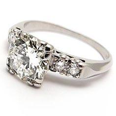 vintage engagement ring in platinum