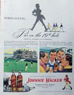 Johnnie Walker Scotch Whiskey  print ad  Color Illustration  Par on the 19th hole 1947 Magazine Art