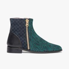 f3da90157959f5 Boots zebré vert et noir en cuir velours Heimstone-Bocage Un boots femme  née de