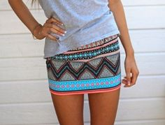 Aztec skirt - I like the colors and it paired w t-shirt