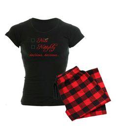 Look at this #zulilyfind! Black & Red Nice or Naughty Pajama Set #zulilyfinds