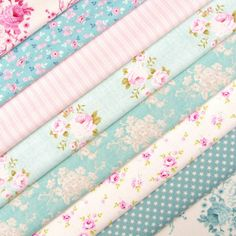 Tilda Country Escape Fabric Pack X 8 / Quilting Doll Rose Stripe Duck Egg Pink
