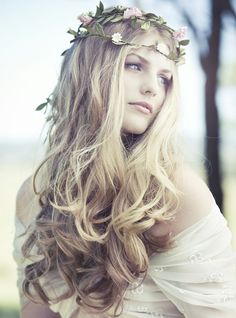 Tousled loose hair, boho floral style