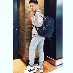 Alvin Goh #HoganClubbingAt #HongKong wearing his #HOGAN H242 Maxi Logo Hi-Top #sneakers paired with the backpack in tumbled leather. Join the #HoganClub #lifestyle and share with us your @hoganbrand pictures on Instagram.