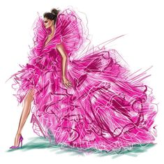 Deepika Padukone by Shamekh Bluwi Fashion Design Sketchbook, Fashion Illustration Sketches, Fashion Design Drawings, Fashion Sketches, Illustrations, Couture Fashion, Runway Fashion, Fashion Art, Girl Fashion
