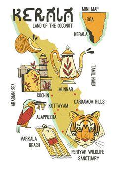 Illustrated Kerala Map