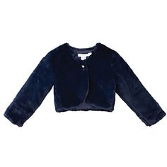 Product review for Designer Kidz Little Girls Navy Button Long Sleeved Thalula Fur Shrug 2-6.  A Thalula long sleeved fur shrug from Designer Kidz just for your sweet little girl. The fur bolero comes in navy color with glitter button at the upper part. Great as an outer wear item or as a cover accessory, this shrug adds a distinctive note.       Famous Words of...