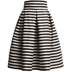 Rumour London - Amalfi Striped Midi Skirt (€155) ❤ liked on Polyvore featuring skirts, knee length pleated skirt, stripe skirt, stripe midi skirt, calf length skirts and fitted midi skirt
