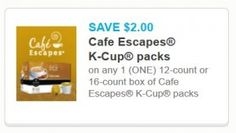Print the new high-value $2/1 Cafe Escapes K-Cups coupon! - http://printgreatcoupons.com/2013/11/22/print-the-new-high-value-21-cafe-escapes-k-cups-coupon/
