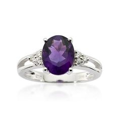 2.35 Carat Amethyst and Diamond Ring In 14kt White Gold - ross simon