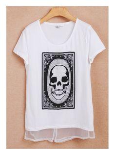 white short sleeve round neck skull print T-shirt -