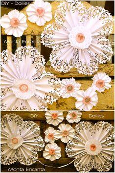 Como fazer Flor de Leque de Paper Doilies - Monta Encanta