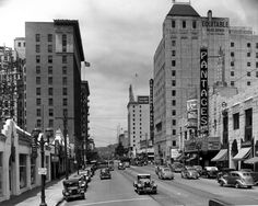 The Pantages Theater, looking west on Hollywood Boulevard, 1938.