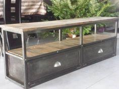 meuble industriel tv métal bois vieillis - 450€ sur mesure