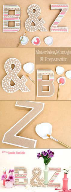 DIY de Bodas – Iniciales de los novios forradas de yute y pintadas estilo BOHO Love Gifts, Diy Gifts, Diy And Crafts, Arts And Crafts, Diy Letters, Handicraft, Diy Art, Diy Wedding, Handmade Jewelry