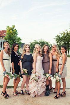 54 Cool Mismatched Bridesmaids' Dresses | HappyWedd.com