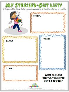 My Stressed Out List Mylemarks is a company dedicated to providing parents and professionals with helpful resources to teach social-emotional skills to children. These tools include counseling worksheets, handouts, workbooks, and much more! Counseling Worksheets, Therapy Worksheets, Counseling Activities, Therapy Activities, Health Activities, Social Activities, Counseling Teens, Cbt Worksheets, School