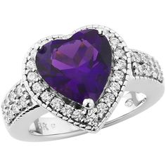 Love Cocktails Purple Rain Platinum Plated Sterling Silver Created... ($71) ❤ liked on Polyvore featuring jewelry, rings, cz cocktail rings, heart ring, amethyst heart ring, purple heart ring and cubic zirconia cocktail rings