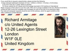 Where Richard can be reached by snail mail. French Words With Meaning, Richard Armitage, British Actors, Meaningful Quotes, About Uk, Candid, The Outsiders, Tom Hiddleston, Shit Happens