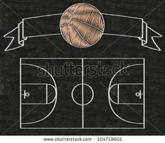 stock photo : basketball on vintage banner and color line match written on blackboard background high resolution, easy to use