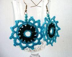 Hand Crochet Romantic Turquoise Blue Black  by CraftsbySigita   www.etsy.com/shop/CraftsbySigita