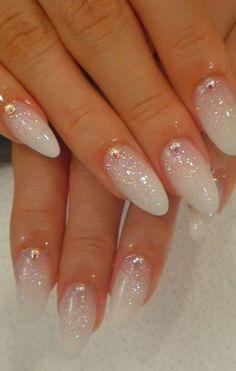 White Glitter Wedding Nails