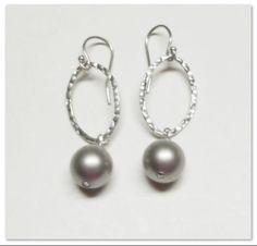 Platinum Sterling Silver Pearl Earrings Cross Jewelry, Diy Jewelry, Jewelry Box, Jewelery, Handmade Jewelry, Jewelry Making, Unique Jewelry, Platinum Jewelry, Silver Pearls