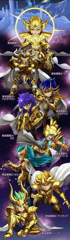 Cavaleiros de Ouro em versão Chibi