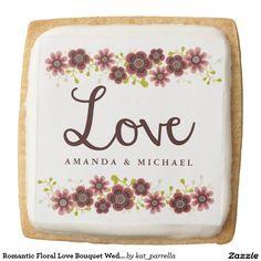 Romantic Floral Love Bouquet Wedding Cookie Favor
