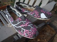 Branching out in pink painted on TOMS shoes-made to order