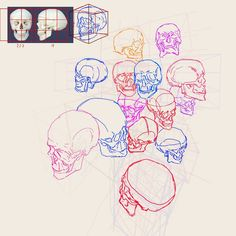 Another mind melting exercise I done recently. Turning skulls in perspective by multiplying cubes. I used only two references(above), by measuring  proportion I could dissect cube to inscribe skull in right size and perspective. This is little bit time consuming but I think in long run it will give me more freedomand maybe some Kim Jung gi superpowers.