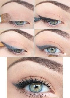 Daytime-friendly cat eye with soft shades of grey. #makeup #eyeliner #cateye