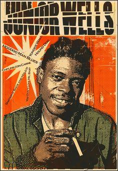 Junior Wells, born Amos Wells Blakemore Jr. Junior Wells, Classic Blues, Jazz Musicians, My Daddy, Graphic Illustration, Folk Art, Jr, History, Artist