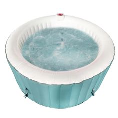 Find deep relaxation in your own backyard oasis with this round inflatable hot tub. This spa provides all of the mental and physical health benefits of a traditional hot tub with a more convenient installation process. The personal spa al. Jet, Traditional Hot Tubs, Round Hot Tub, Deep Relaxation, Sit Back And Relax, Blue And White, Light Blue, Health Benefits, Oasis
