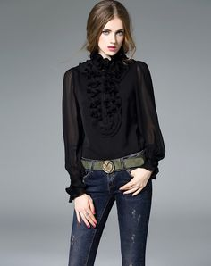 #AdoreWe mojaser Black Ruffle Long Sleeve Pleated Bodysuit Blouse - AdoreWe.com