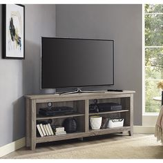 Corner TV Stand in Driftwood - Walker Edison your TV in style with this corner wood media stand. Its space saving corner design provides optimal use and features adjustable shelving to fit your media components and accessories. Wood Corner Tv Stand, Tv In Corner, Corner Tv Stand Ideas, Small Corner, Grey Corner Tv Unit, Corner Tv Console, Corner Tv Wall Mount, Small Den, Room Corner